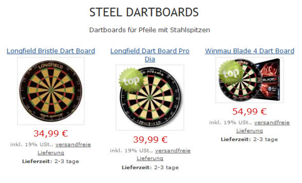 Steel Dart Boards in Ebeleben Onlineshop
