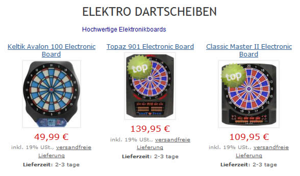 Elektro Dart Boards in Hamburg Onlineshop